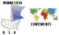 Map of continents, USA, & Minnesota